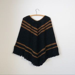 crochet 1960s chevron fringe sweater gypsy poncho